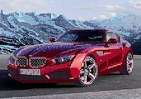 Схема для вышивки бисером Красная машина, размер 24х17 см