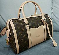 Модная сумка Louis Vuitton Луи Виттон бочонок коричневая с бежевым