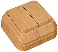 Выключатель Makel 2-клавишный дуб Арт.(45303)