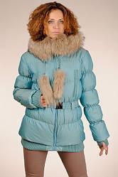 Теплый красивый женский бирюзовый натуральный пуховик с капюшоном с мехом енота SNOW CLASSIC  48  скидка