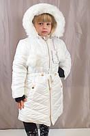 Детская теплая белая зимняя курточка на девочку.
