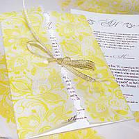 """Приглашение """"Золотые кружева"""" в конверте из кальки"""