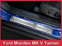 Накладки на пороги из нержавейки Ford Mondeo MK5 Kombi