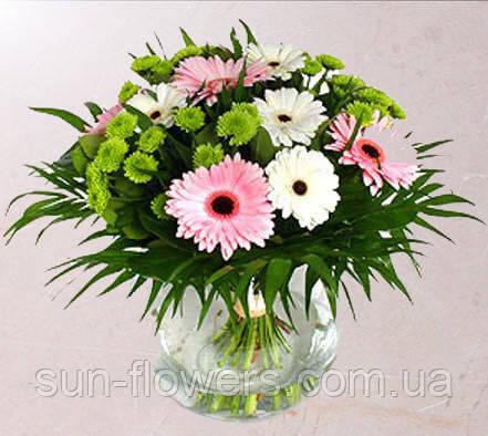 Букет бело-розовые герберы хризантема,зелень