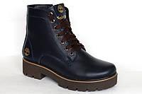 Ботинки женские Timberland зимние, кожаные синего цвета