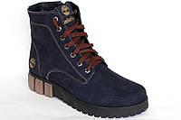 Ботинки Timberland зимние женские, нубук синего цвета