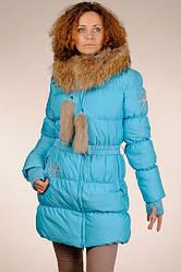 Жіночий теплий натуральний пуховик на гусячому пуху з капюшоном з хутром єнота SNOW CLASSIC знижка