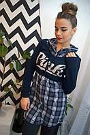 """Молодежный, женский комплект """"Короткий свитер + рубашка с капюшоном без рукавов""""  РАЗНЫЕ ЦВЕТА"""