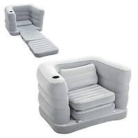 Надувное велюровое раскладное кресло Bestway 75065, серое, 200 х 102 х 64 см