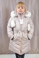 Детское теплое зимнее пальто на овчине для девочки.