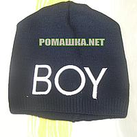 Детская весення, осенняя вязаная шапочка р. 52 без подкладки хорошо тянется ТМ Аника 3227 Синий1
