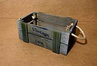 Ящик деревянный с ручками под цветы, серый с зеленым, 25х16,5х10 см, фото 1