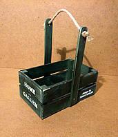 Ящик деревянный с ручкой под цветы, темно-зеленый, 16,5х25х27 см, фото 1