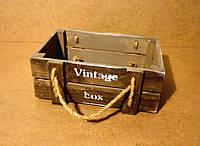 Ящик деревянный с ручками под цветы, темно-коричневый с бежевым, 25х16,5х10 см
