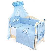 Детский постельный комплект Twins Evolution A-003 Котик и собачка 8 предметов, голубой