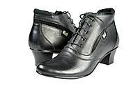 Женские ботинки осенние на флисе кожаные с замшевыми вставками mida 22003ч черные   весенние