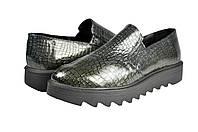 Женские туфли повседневные mida 21589сер черные   весенние , фото 1