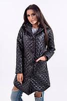 Стеганая молодежная куртка-плащ на пуговицах с капюшоном. Разные цвета.