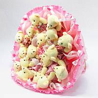 Букет из игрушек Мишки 17 розовый
