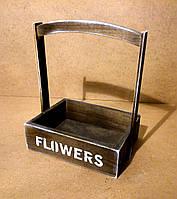 Ящик деревянный с ручкой под цветы, темно-коричневый, 26х18х30 см, фото 1