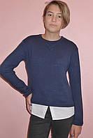 """Кофта """"Ксения"""" синяя (ангора в сочетание с тканью из хлопка), фото 1"""