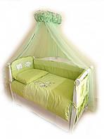 Детский постельный комплект Twins Evolution A-005 Котик и собачка 8 предметов, зеленый