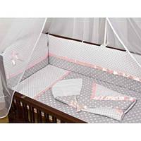 """Детское постельное в кроватку из 3-ед-""""Горошек с розовой атласной лентой"""""""