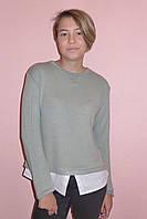 """Кофта """"Ксения"""" серая (ангора в сочетание с тканью из хлопка), фото 1"""