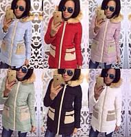 Куртка с вязаными карманами зима 2017 про-во Китай