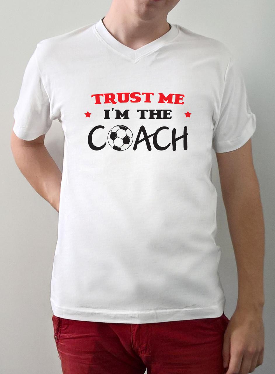 "Мужская футболка ""Trust me i`m coach""-""Доверься мне,я тренер"""