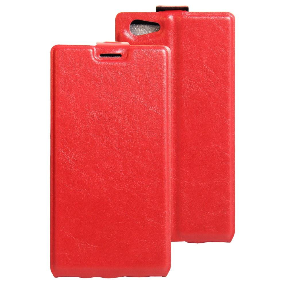 Чехол книжка для Doogee Y300 вертикальный флип с отсеком для визиток, Красный