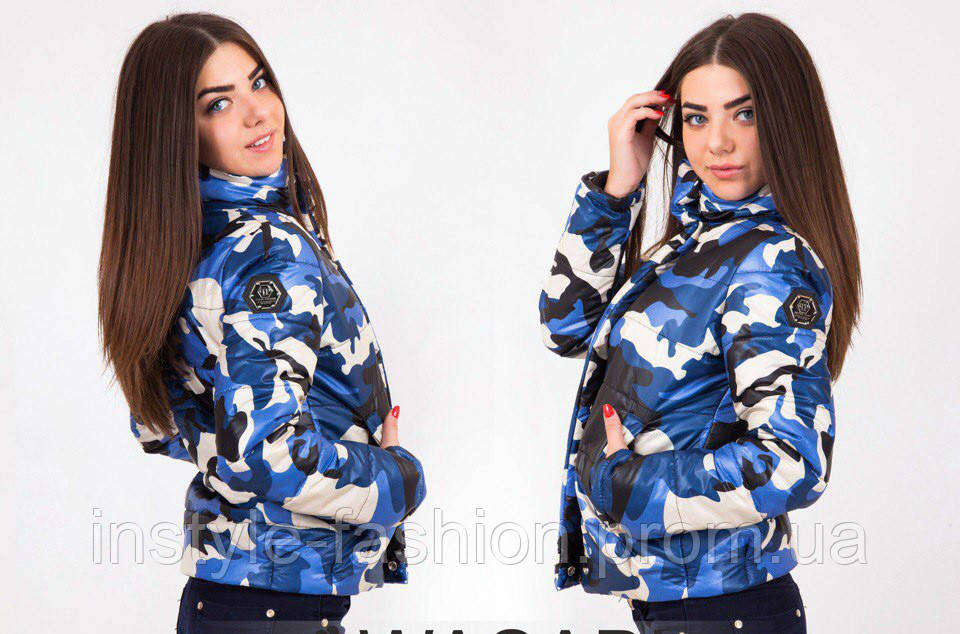 Женская стильная куртка Philipp Plein с военным принтом синяя