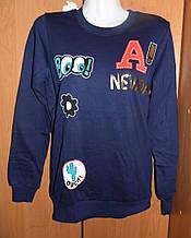 Женский синий свитшот на флисе