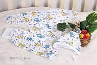 Набор одежды с ползунками, шапочкой и распашонкой для новорожденного на байке Антошка