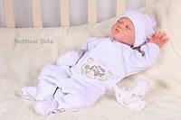 Человечек с шапочкой для новорожденного белого цвета с вышивкой