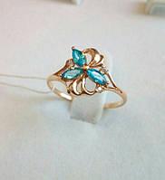 Золотое кольцо с аквамаринами, фото 1