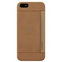 Пластиковая накладка с кармашком для пластиковых карт Ozaki O!coat 0.3 Pocket для iPhone 5, 5S - коричневая (OC547BR)