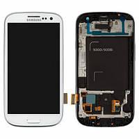 Дисплей для Samsung I9305 Galaxy S3 + с сенсором (тачскрином) и рамкой White