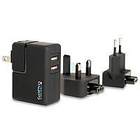 """Сетевое зарядное устройство с двумя портами USB для камеры GoPro """"Wall Charger"""" любого поколения (Переходники: US, UK, EU) (AWALC-001)"""