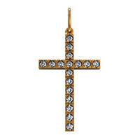 Консервативный с камнями золотой крестик 585* пробы