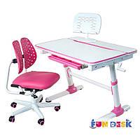 Детская парта трансформер FunDesk Carezza Grey + детское кресло SST2 Pink Blue