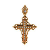 Узорчатый золотой крестик 585* пробы с Фианитами