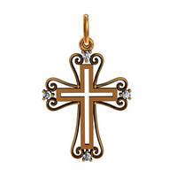 Маленький золотой крестик 585* пробы в узорчатом обрамлении