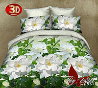 Комплект постельного белья 3D TM TAG Свежее утро с белыми розами семейный