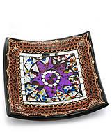 Тарелка деревянная квадратная с мозаикой