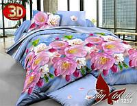 Комплект постельного белья 3D TM TAG голубого цвета Цветочное ассорти семейный