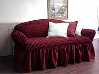 Набор два чехла  на 3-х местный диван, цвет бордо