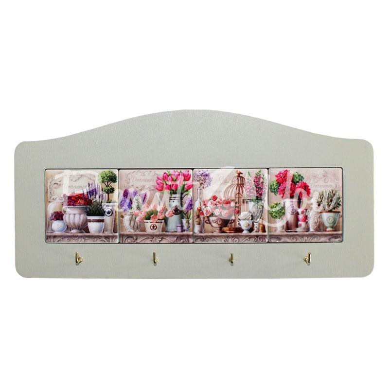 Настенное панно с крючками «Прованс. Цветы», 23,5х11, 19,5х5 см.