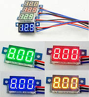 Вольтметр цифровой DC 0-99.9V (3-30V) Красный,Синий,Зелёный,Желтый