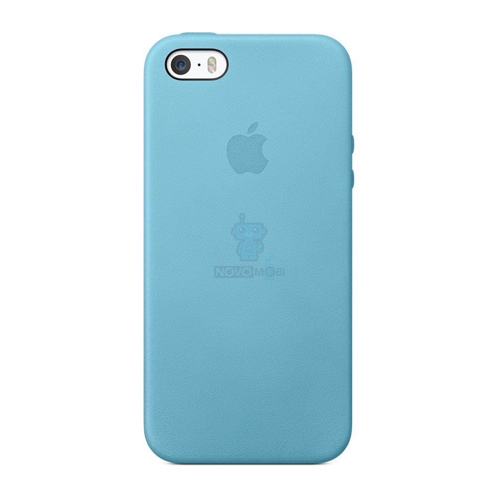 Оригинальная кожаная накладка Apple Case для iPhone 5, 5S, SE - голуба